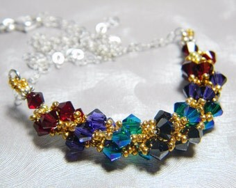 "Scorpio Zodiac Lucky Colors Swarovski Crystal Necklace Beadweaving Sterling Silver - ""The Scorpion"""