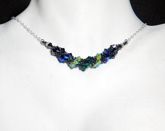 "Fairytale Villain Inspired Swarovski Crystal Necklace Beadweaving Sterling Silver - ""Mistress of All Evil"""
