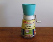 Vintage Villaware Nut Chopper - With Original Label - Federal Glass - Turquoise Top
