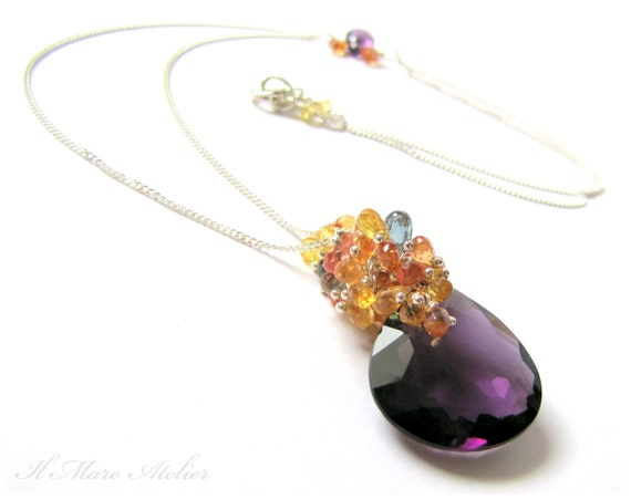 Amethyst Sapphire Pendant necklace in Sterling Silver - Ava
