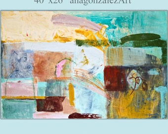 Painting Large wall Art Abstract canvas 40x26 mixed media turquoise, red, orange, green, gray, cream Spanish Art