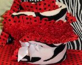 Zebra Minky Blanket with Ruffle Red Black White Baby Shower Gift