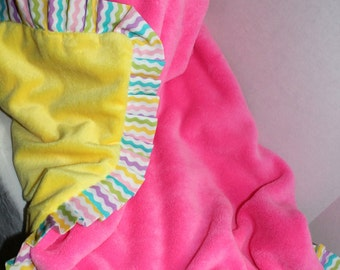Pink and Yellow Double Sided Minky Blanket Photo Prop