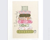 Original Embroidery Artwork - 'I love my bed' in pink, orange and green - mounted 10x8