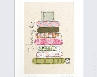 I Love my Bed - Personalised Mounted embroidery - pink, orange and green - 10x8