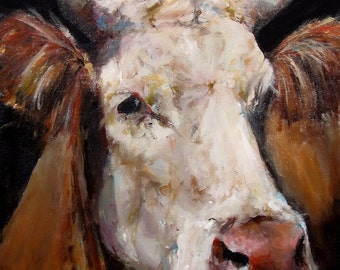 Cow Painting - Rose - Print on Paper of an original painting by Cari Humphry