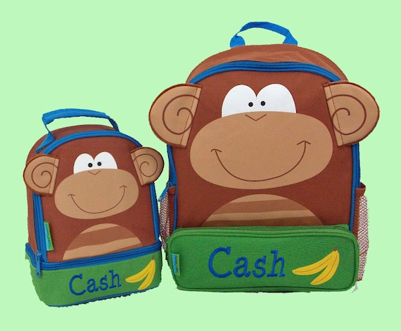 Personalized Stephen Joseph MONKEY Themed Sidekick Backpack and Lunch Pal Lunchbox