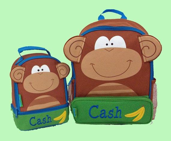 Personalized Stephen Joseph MONKEY Themed Sidekick Backpack and Lunch Pal Lunchbox