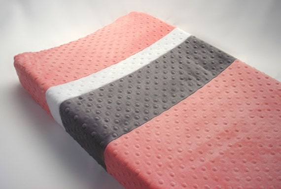 coral changing pad cover with custom color stripes. Black Bedroom Furniture Sets. Home Design Ideas