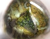 Triangular yunomi fired with indigo and wood ash by Cory Lum