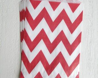 24 Chevron Striped Red Favor Bags