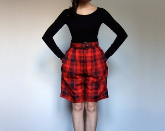 High Waisted Shorts Vintage 80s Long Black Red Plaid Winter Shorts Womens Fall Fashion Pockets - Extra Small XS