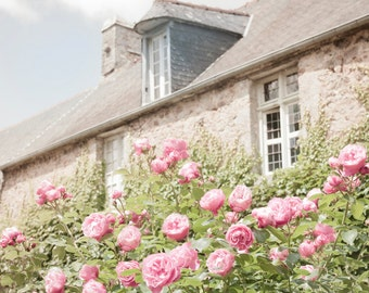 French Country Photograph, Cottage and Roses, Country Home Decor,  Fine Art Travel Photograph, Large Wall Art
