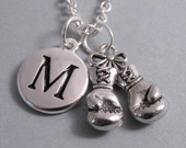 Boxing Gloves Necklace, Boxing Gloves Charm, Breast Cancer Survivor, Boxing Gloves Keychain, Engraved Initial, Personalized, Monogram