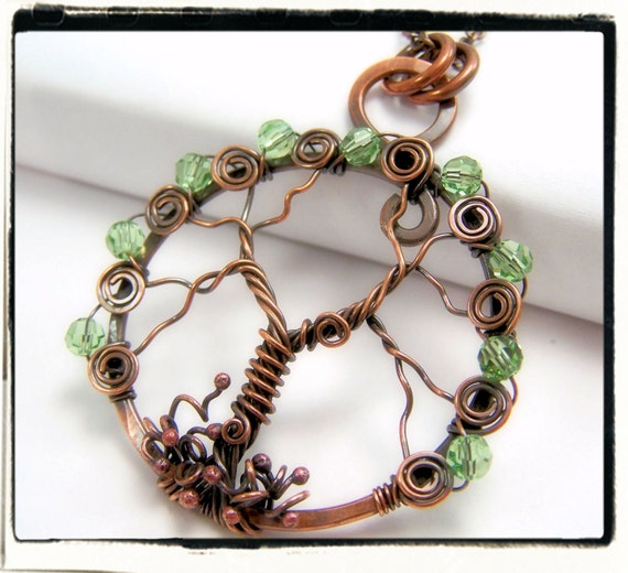 008 Antique Copper Faerie Green Crystal Wire Wrapped Tree of Life Pendant