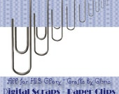 Digital Scrapbook Accessory - Paperclips - Silver - Instant Download