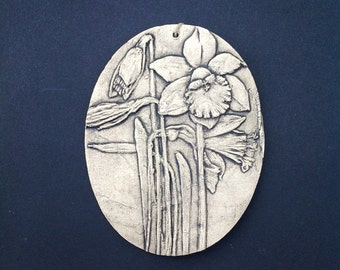 Daffodil Ceramic Pottery Flower Garden Relief Sculpture Tile