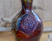 Raku Copper  Bud Vase.  Nature Inspired Ceramic Raku Vase.  Home Decor.  Hand Built Ceramics.