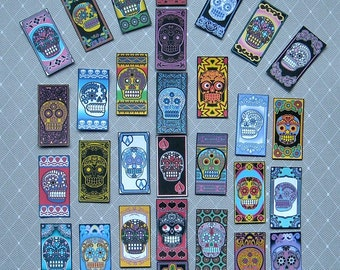 24 PRINTED Sugar Skull Domino Tile paper STICKERS- Color skull images Day of the Dead decorations Sugar Skulls sugar skull stickers
