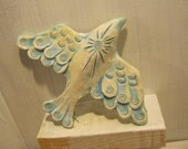 Hand built Ceramic Sculpture White Washed Wall Bird FREE SHIPPING