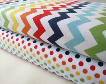Rainbow Small Chevrons and Dots 1/2 Yard Fabric Bundle - Total 1 Yard - By Riley Blake Designs
