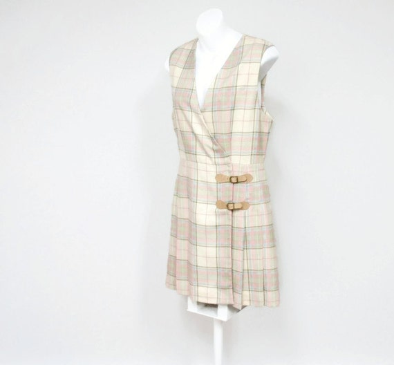 Vintage Dress Jumper Back to School  Pastel  Claiborne Pleated Kilt Skirt Size 4