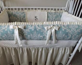Cream Damask  Baby bedding Crib set DEPOSIT