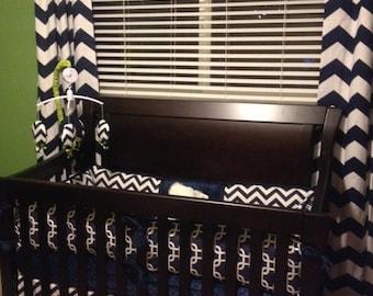 Navy Chevron  Boys Custom Baby Bumper Pad Crib Set DEPOSIT ONLY