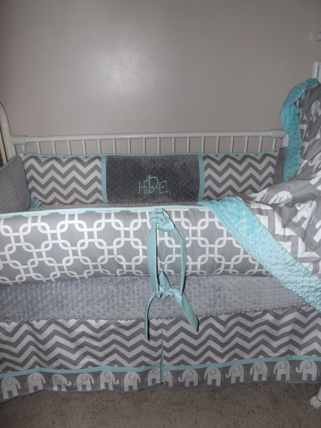 Baby Bedding Crib Set Aqua And Gray Chevron Elephant Deposit