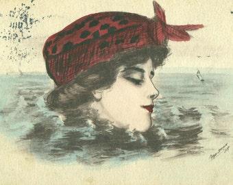 Antique Color Postcard Beautiful Edwardian Woman Red Hat Lady Art Louisville Kentucky