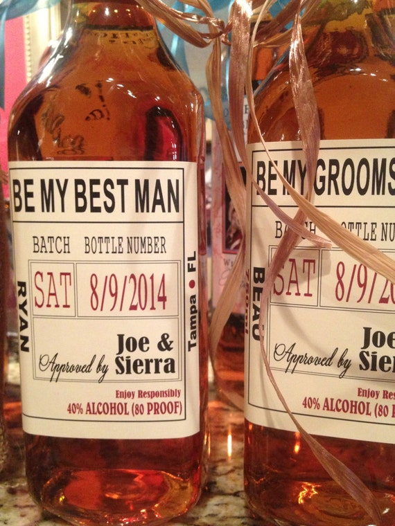 Custom wedding party and groomsman liquor labels bourbon for Groomsman liquor bottle labels