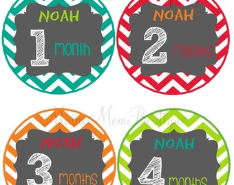 PERSONALIZED Baby Month Stickers Monthly Bodysuit Stickers Monthly Stickers Baby Shower Gift Newborn Photo Prop Baby Milestone Chevron