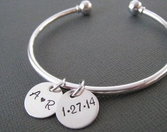 Hand Stamped Bangle Bracelet - Silver Mothers Jewelry - Personalized Bracelet - Silver Bracelet Bangle - Anniversary Gift - Mother's Gift