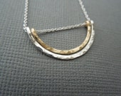 simple delicate dainty necklace, arch, hammered, mixed metals, two tone, sterling silver, gold fill, simple, modern, bridesmaid gift, N34
