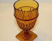 Vintage Amber Goblet or Footed Tumbler