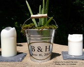 Personalized Small Pail, Galvanized Metal Bucket, Custom Table Decor, Rustic Wedding - Small Size (1.5qt)