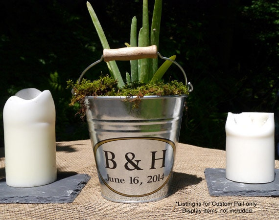 Custom table decor personalized small pail rustic wedding for How to decorate a bucket