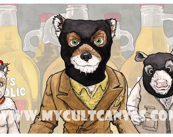 "Original ""Bean's Alcoholic Cider"" Art Print Fantastic Mr. Fox Wes Anderson"