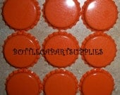 50 ORANGE Bottle Caps Lot For Scrapbook, Bows, Crafts. New Crown Caps. Can be used for Bottling