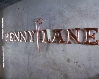 Hammered Copper Sign