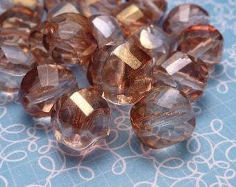 Apricot Spiral Cut Glass Beads 10mm - 6pc