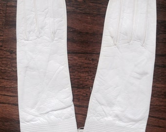 Vintage white leather gloves small