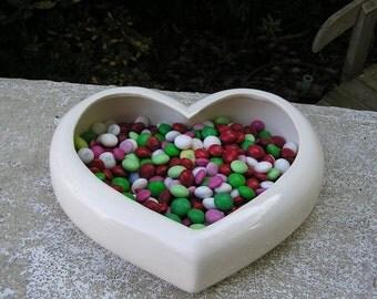 Glazed Deep Heart Candy Dish