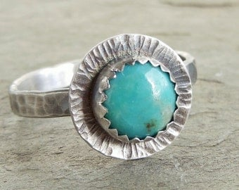 Turquoise Ring, Sterling Silver Gemstone Ring, Blue Gemstone, Sterling Silver Ring, Western Jewelry