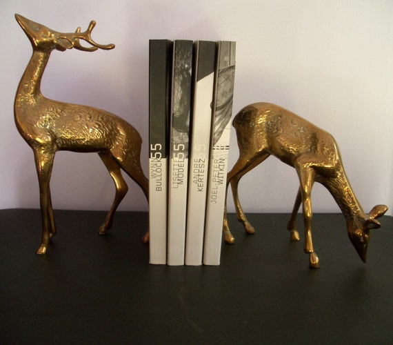 Bookends pair of deer stag buck doe vintage brass - Stag book ends ...