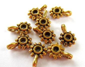 30 Bead hangers antique gold jewelry charm hangers jewelry making suppplies  980Y