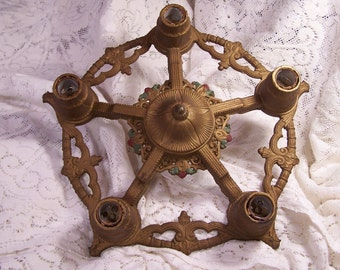 Antique Victorian Hanging Ceiling Mount 5 Light Cast Chandelier, Art Nouveau, Art Deco, Cast Iron, Ceiling Light Fixture, Bronze Painted