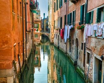 Venice Photography, Hanging Laundry Photo Italy Photograph Canal Orange Wall Art Home Decor Architecture ven44