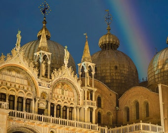 San Marco Photo, Venice Photography Rainbow Photograph Saint Marks Basilica Church Cathedral Duomo Night ven37