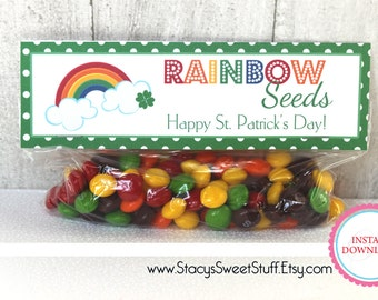 St. Patricks Day, St. Patrick's Day Printable Treat Bag Topper, Rainbow Seeds, INSTANT DOWNLOAD